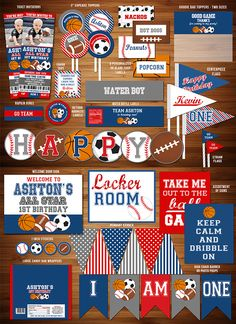 Printable All Star Sports Party Package | Sports Team Party Decor | Basketball, Football, Baseball, Soccer | Ticket Birthday Invitation | Cupcake Toppers | Banner | Water Bottle Labels | Food Labels | Favor Tag and more! www.dazzleexpressions.com