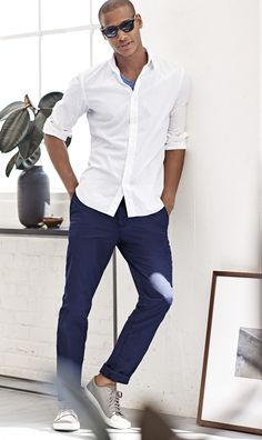 A classic crisp white shirt will easily pair with your chinos for a polished yet casual summer look | Banana Republic