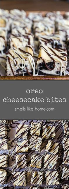 Oreo Cheesecake Bites – Smells Like Home Oreo Cheesecake Bites- If you're looking for an easy, no-fuss, crazy-delicious dessert that everyone will love, look no further. These Oreo cheesecake bites are everything! Oreo Cheesecake Cupcakes, Oreo Cheesecake Recipes, Cheesecake Bites, Vegan Quesadilla, Texas Chili, Bakery Recipes, Dessert Recipes, Dessert Bars, Dessert Ideas