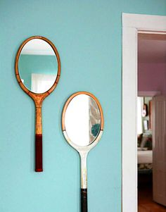 Vintage tennis racket mirrors. I happen to have my old one just lying around in the garage... I was going to sell it at my garage sale next week - now... notsomuch!
