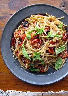 Spaghetti with Roasted Cherry Tomatoes & Spicy Garlic Oil for Two