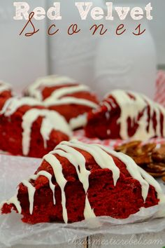Soft, buttery, chewy and bursting with rich, red velvet flavor, these Red Velvet Scones make for an indulgent breakfast treat! #redvelvet #valentinesday