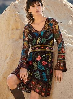 Folklorica Pima Cotton Dress - Art Knits & Collectibles - Sweaters…More Bohemian Style Clothing, Bohemian Tops, Peruvian Connection, Knitted Coat, Cotton Dresses, Dresses Dresses, Boho Fashion, Fashion Details, Knitwear