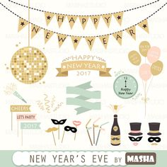 "New Year clipart: ""New Year's Eve clipart"" with party clipart, new year clip art. New Year Doodle, Eve Music, New Year Clipart, New Years Eve Invitations, Baby Shower Clipart, Thanksgiving Pictures, Nye Party, Happy Year, New Year Celebration"