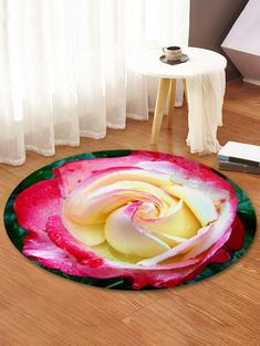 Rose Flower Pattern Round Flannel Rug for Home decor Interiors Apartments Future Living Room House Master Bedrooms decorations They are beautiful, lovable and affordable. You deserve it! Dark Carpet, Modern Carpet, Wall Patterns, Flower Patterns, Waterproof Floor Mats, Fleece Patterns, Cheap Rugs, Cheap Carpet