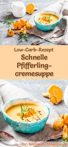 Low-carb recipe for chanterelle cream soup: low-carb, low-calorie and healthy. A simple, quick soup Healthy Soup, Easy Healthy Recipes, Low Carb Recipes, New Recipes, Soup Recipes, Easy Meals, Fast Low Carb, Cream Soup, Soups And Stews