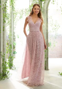 Morilee 21620 is a Delicate Chantilly Lace Bridesmaid Gown that has a Deep V-Neckline, flutter cap sleeves, and Ruffled Racer Back. A Dainty Beaded Waistband completes the look of this feminine and romantic dress. Mori Lee Bridesmaid Dresses, Lace Bridesmaid Dresses, Wedding Dresses, Lace Wedding, Dressy Dresses, Prom Dresses, Elie Saab, Chantilly Lace, Camila