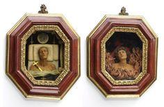 Group of 2 coloured wax reliefs, possibly by Giovanni Bernardino Azzolino, Italian, probably 1620s.