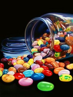 Jelly Beans Limited Edition Reproduction on Gallery-Quality Canvas of the Original Oil Painting: Signed, Numbered, Certificate of Authenticity, Ready to Hang, Home & Office Wall Decor, Gift