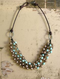 I want this soooo bad....Bohemian statement necklace leather baroque pearls by 3DivasStudio, $78.00