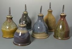 Stoneware oil cruets by Amy Manson (click to enlarge)