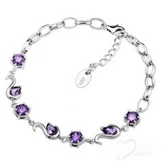 Modest Wholesale Swan Amethyst 925 Sterling Silver Bracelet Jewellery