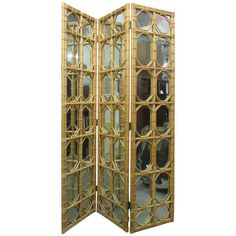 3 panel rattan mirror floor screen room divider 5900 liked on polyvore featuring