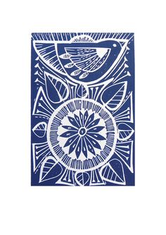 Blue Folk Bird and Flower Lino prints by Mangle Prints, via Flickr