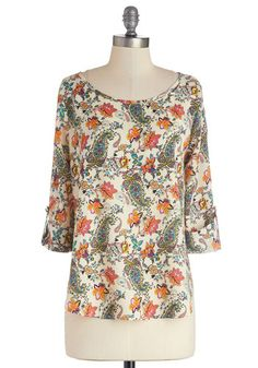 Art and About Top - Mid-length, Chiffon, Woven, Multi, Orange, Green, Tan / Cream, Paisley, Work, 3/4 Sleeve, Spring, Better, Multi, 3/4 Sle...