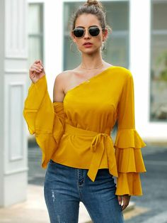 To find out about the Asymmetrical Neck Flounce Sleeve Belted Blouse at SHEIN, part of our latest Blouses ready to shop online today! Urban Chic, Stylish Dress Designs, Stylish Dresses, English Dress, Fashion News, Fashion Outfits, Types Of Sleeves, Blouses For Women, Marie