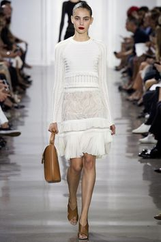 Jason Wu SS16 - all white everything - beautiful woven knit top with a lace and ruffle skirt #NYFW...x