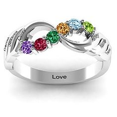 Infinity and Wave Ring #jewlr Love it in all CZ. I like the idea of adding the kids in a blended family.