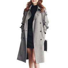 New Fashion Women Long Coats Spring Autumn Female Slim Thin Trench Plaid Long Sleeve Coats Mid-long Trench Coats Plus Size ZA345