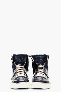 MAISON MARTIN MARGIELA Navy Patent Leather High-Top Sneakers