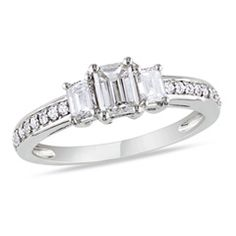 1 CT. T.W. Emerald-Cut Diamond Three Stone Engagement Ring in 14K White Gold - View All Rings - Zales   $2,570