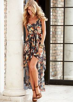 $44.00 Floral print high low dress @ Venus.com hands down THE cutest dress EVER!!!  WANT THIS!!!
