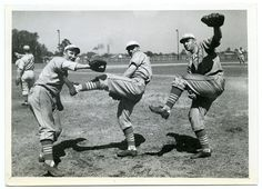 St. Louis Cardinals, Ripper Collins (James Collins), Pepper Martin, and Jack Rothrock at Spring Training. (1935)