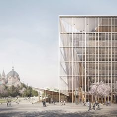 The design is based around two urban squares and a new park, framed by low-rise office blocks