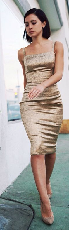 Gold Vintage Knee-length Dress by Karla's Closet