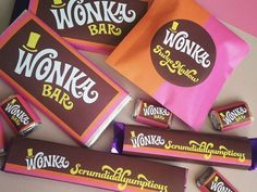 Wonka Chocolate, Chocolate Factory, I Party, Party Favors, Willy Wonka Movie, Vintage Candy, Candy Wrappers, Party Themes, Party Ideas