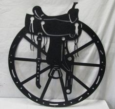 Saddle and Wheel Large Western Metal Wall Art for the home, barn or yard