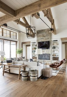 Home Living Room, Living Room Designs, White Living Rooms, Rustic Modern Living Room, Farmhouse Living Rooms, Modern Rustic Decor, Modern Farmhouse Kitchens, Farmhouse Ideas, Rustic Style