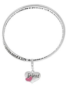 Friend poem poet mobius enamel heart charm bangle bracelet engraved A friend is someone -- You can find more details at http://www.amazon.com/gp/product/B00TWHK7DC/?tag=splendidjewelry07-20&pst=160716022521