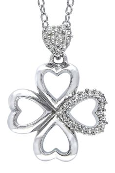 Diamond Cutout Clover Pendant Necklace - 0.10 ctw