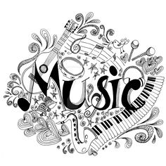 Printable Music Coloring Pages Awesome Printable Coloring Page Zentangle Music Coloring Book Mandala Coloring Pages, Coloring Book Pages, Printable Coloring Pages, Music Tattoo Designs, Music Tattoos, Music Clipart, Music Doodle, Mandala Printable, Free Printable
