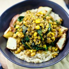 Curried Lentils, Corn, & Chard with Roasted Potatoes 3
