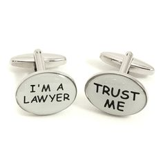 Bey-Berk Rhodium Plated Trust Me and I'm a Lawyer Cufflinks, Men's - J213