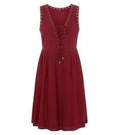 Burgundy Eyelet Lattice Front Smock Dress
