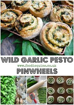 Preserve the flavour of Spring in Wild Garlic Pesto then use it to create the ultimate cheesy garlic bread. Using a soda bread base, these Wild Garlic Pesto Pinwheels are super quick and easy to make and oh so moreish. Garlic Recipes, Veggie Recipes, Vegetarian Recipes, Cooking Recipes, Vegan Meals, Sandwich Recipes, Potato Recipes, Healthy Cooking, Fish Recipes