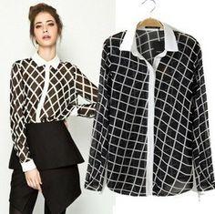 Free shipping Women brand elegant blouse Chiffon plaid shirt European style white collar fashion blouse woman OL blouses CSH363 $12.88
