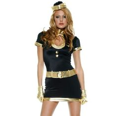 🎉HALLOWEEN SALE🎉• Flight Attendant Costume • This adult Fabulous Flight Girl stewardess costume for women will put you in top form to recruit new members to the Mile High Club. Stretchy, sexy and comfy, the costume comes with a metallic gold trimmed dress, hat, belt and matching gloves. Comes in original package. Worn only once. Good condition.  Not Party City branded - only for exposure!  ✅Bundles ✅Reasonable Offers ✅Discount Shipping Party City Dresses