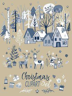 Christmas Clip art Set Christmas kit clipart greetings