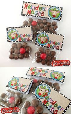DIY Reindeer Noses Christmas favours! Fill bags with maltesers and a single red gobstopper (for Rudolph!) and add these free printable bag toppers for an easy Christmas stocking filler!