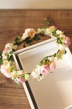 ウェディング 花冠 ナチュラル ピンク