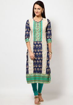 Navy blue coloured printed kurta for women from Folklore. Made from 100% cotton, it features a round neck, a midi length, a regular fit and 3/4th sleeves.