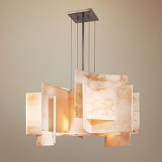 """Could be an interesting choice for the dining room.  $1,350, so you'd have to love it...   ---------  George Kovacs Alabaster Dust Glass 30"""" Wide Chandelier 