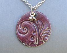 Pottery Jewelry, Pottery Pendant Necklace, Swirl Necklace, Plant Necklace, Ceramic Necklace, Flower Charm Necklace, Wine Red Jewelry