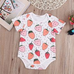 Strawberry Surprise Romper Buy it today from www.presentbaby.com  We sell a wide array of baby clothing, socks, shoes, bottles, blankets and more. For more information visit our website today.  #blankets #sterilizers #summer #baby #boy #newborn #clothes #unisex #unigender #neutral #winter #onesies #outfits #romper #floral
