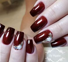 Cherry Nails, Glitter Nails, Nail Art Designs, Makeup Tips, Origami, Beauty, Work Nails, Nails For Wedding, Red Black