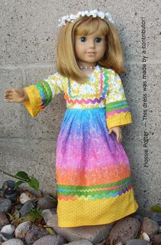Flossie Potter Flower Child Maxi Dress Doll Clothes Pattern 18 inch American Girl Dolls | Pixie Faire